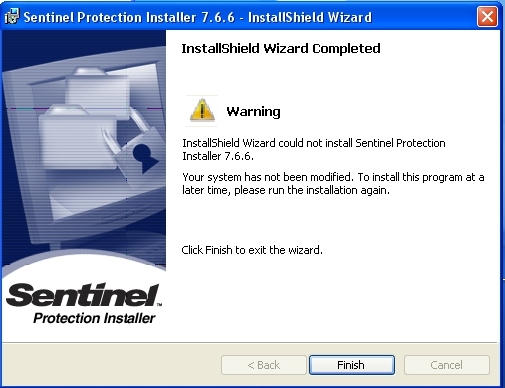 Unable to install Sentinel Protection Server - Gemalto Sentinel
